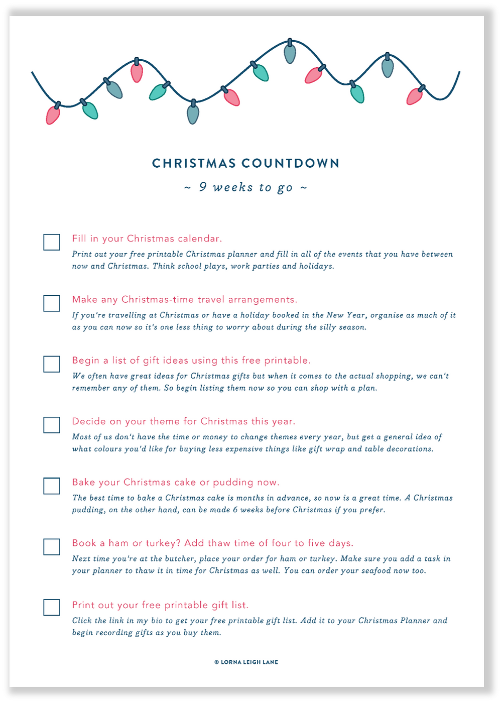 Christmas Countdown checklist - 9 weeks to go