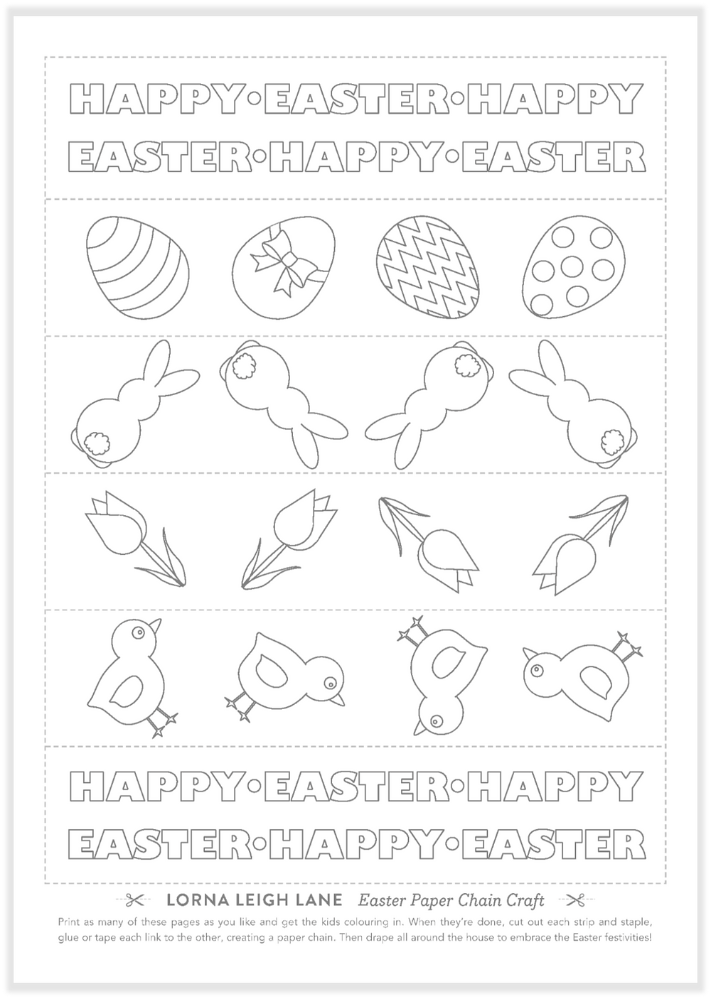Free Easter paper chain craft for kids
