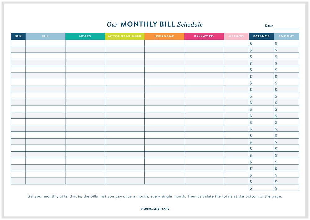 Monthly Bill Schedule free printable