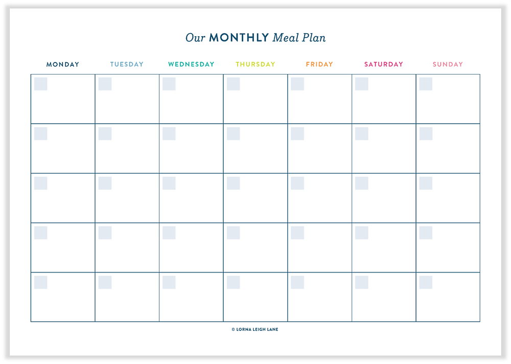 Free printable Monthly Meal Plan template