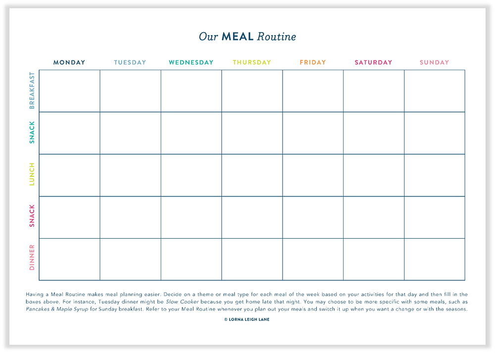Free printable Meal Routine template