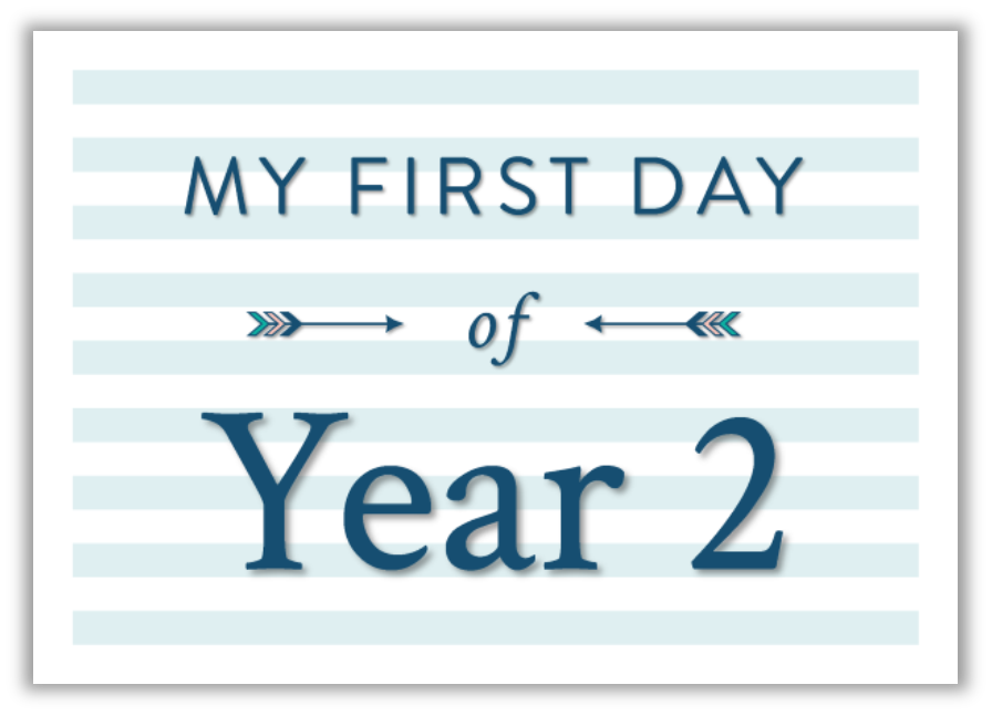 My first day at school printable photo sign blue
