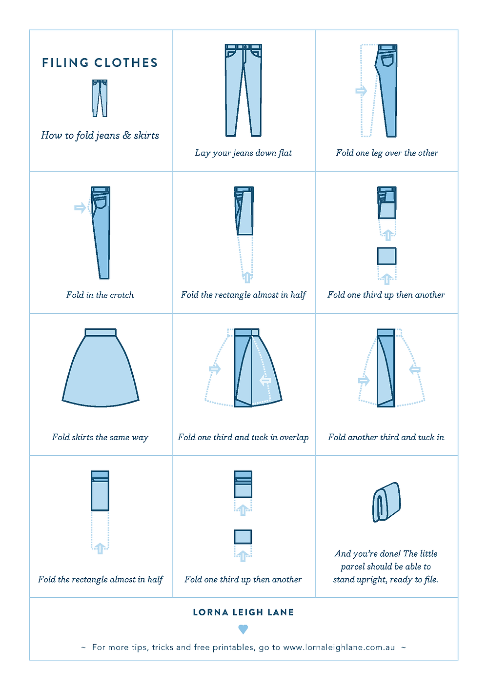 How to fold jeans and skirts like Marie Kondo