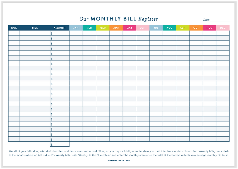 Monthly Bill Register free printable
