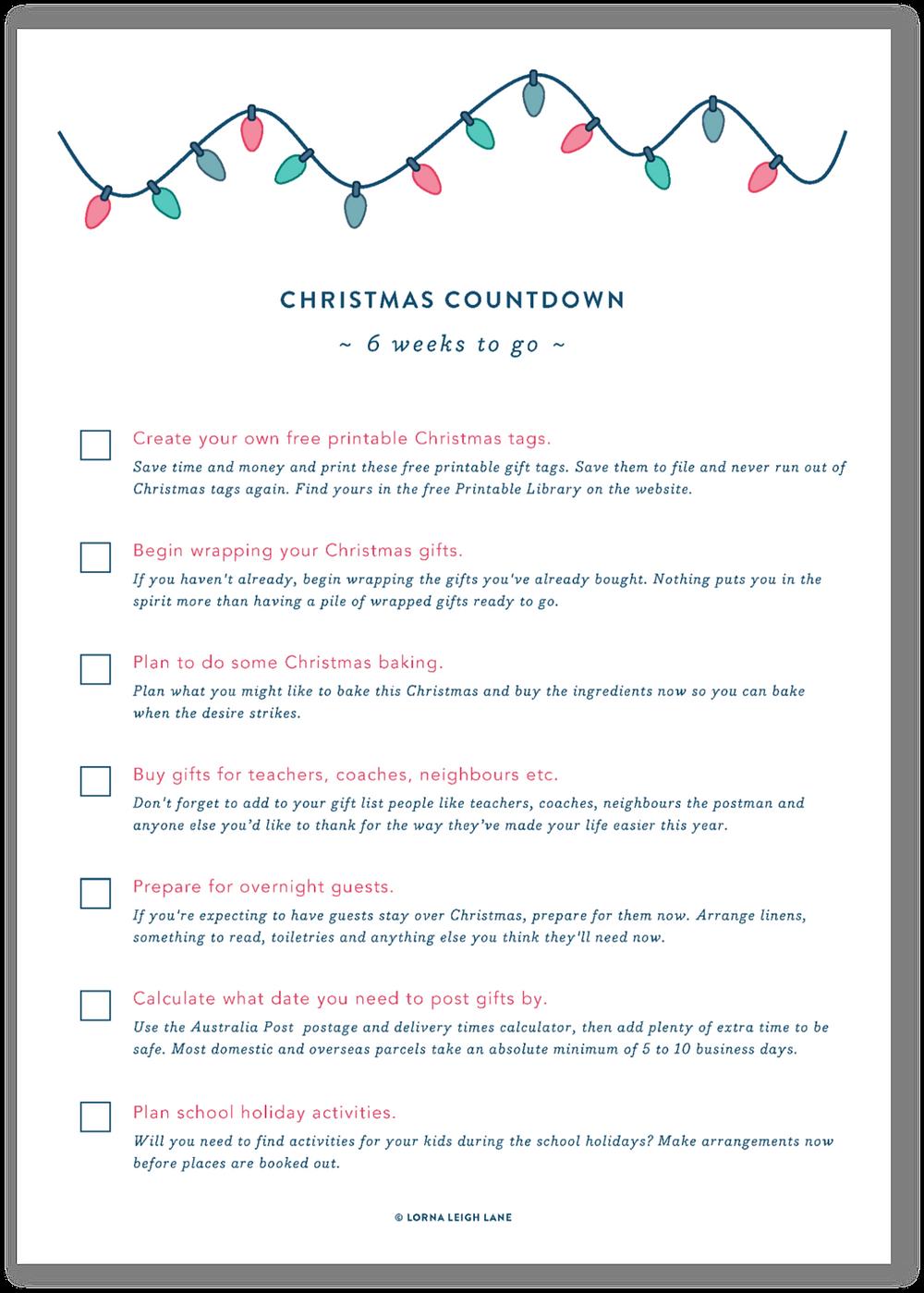 Christmas Countdown - 6 weeks to go