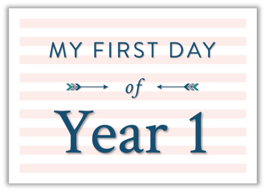 My first day at school printable photo sign pink