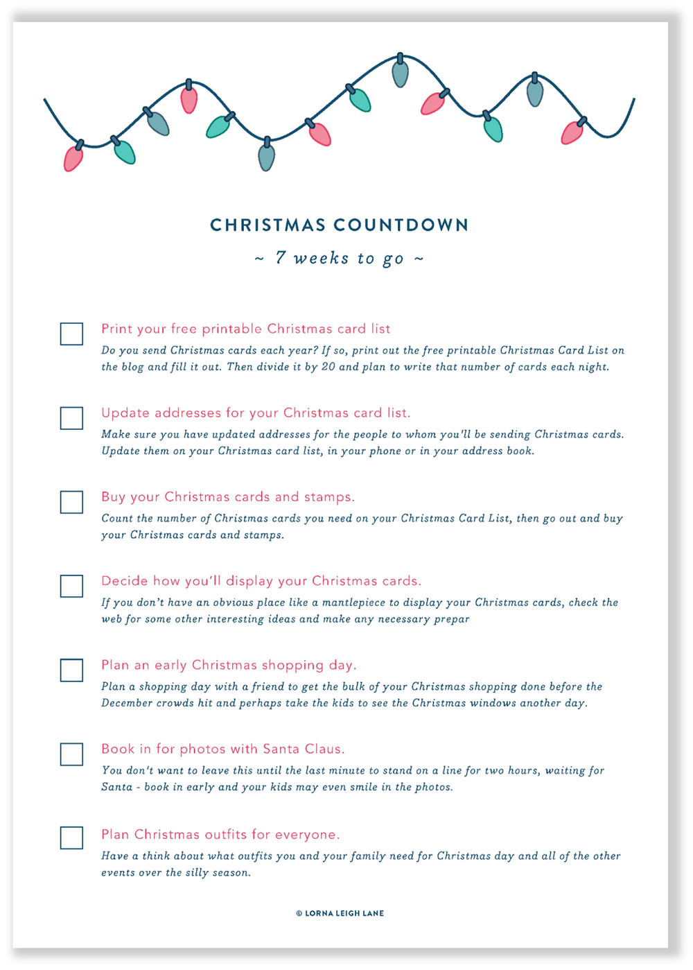 Christmas Countdown - 7 weeks to go