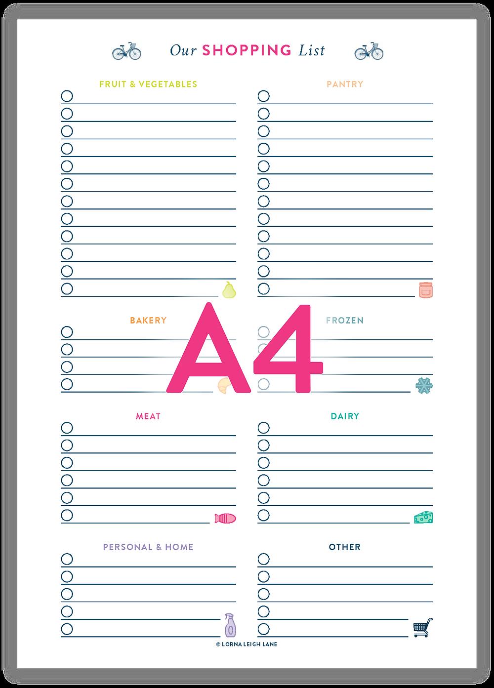 Printable A4 Shopping List