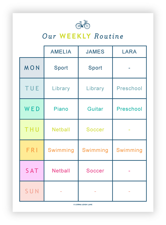 Kids' Morning Routine Chart Checklist