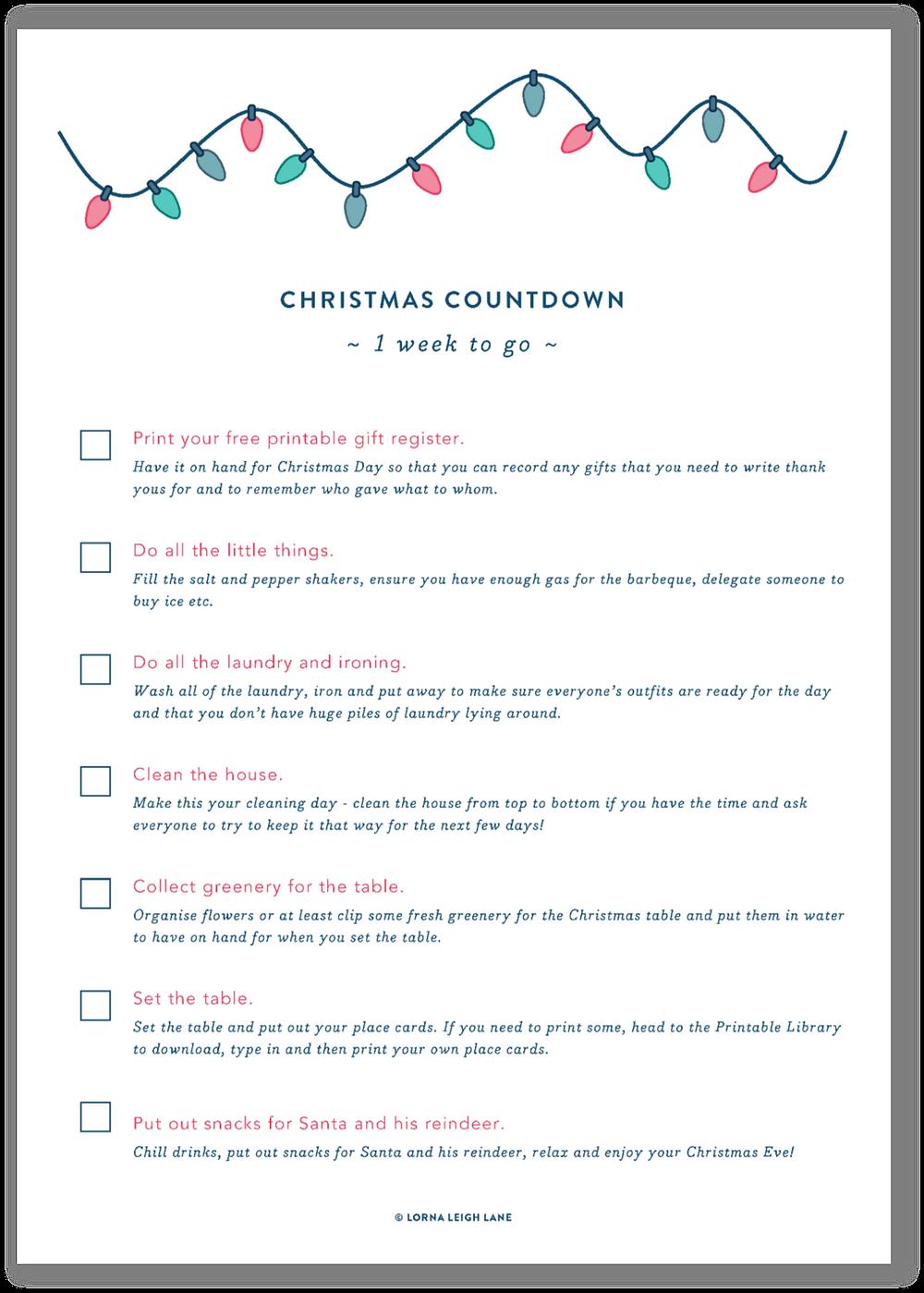Christmas Countdown - 1 week to go