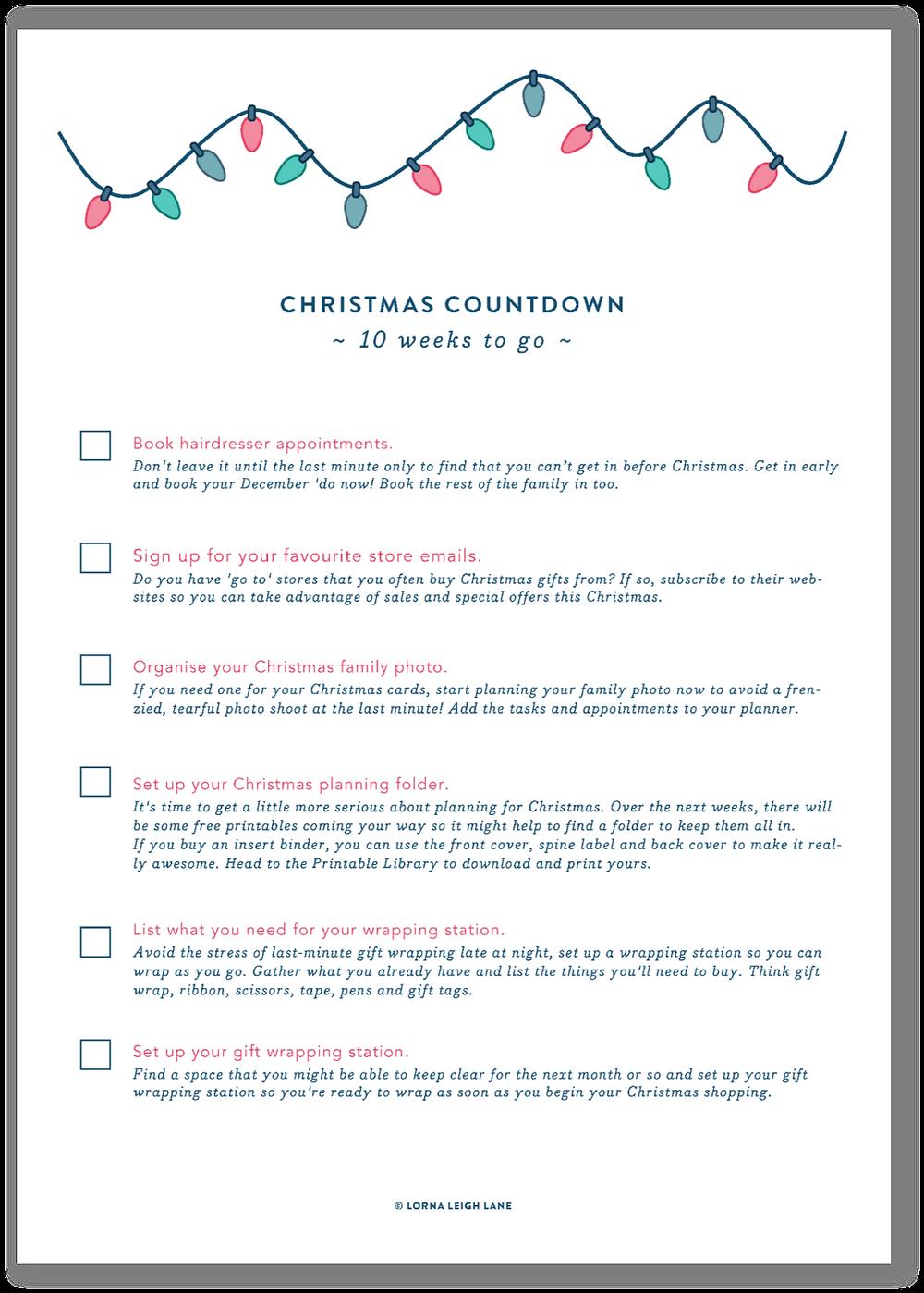 Christmas Countdown - 10 weeks to go