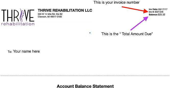 Thrive Rehab Invoice Example