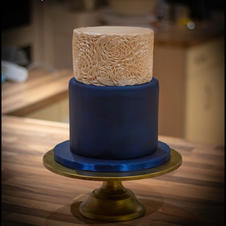 Champagne and Navy small Wedding Cake