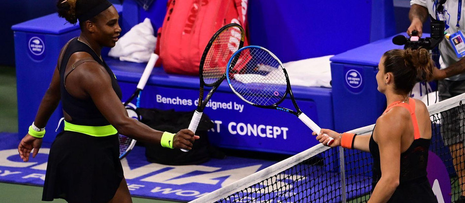 Serena Williams overcomes a rally by Mari Sakkari to move onto the quarter finals in the US Open.