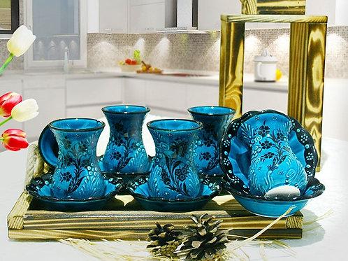 Turkish Handmade Tea Cups  - Set of 6 Tea Sets