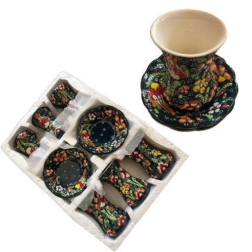 Turkish Handmade Set Of 6 Tea Cups