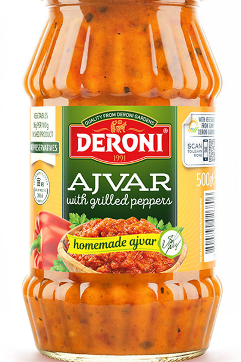 Deroni Homemade Ajvar with Grilled Peppers 500 Gr