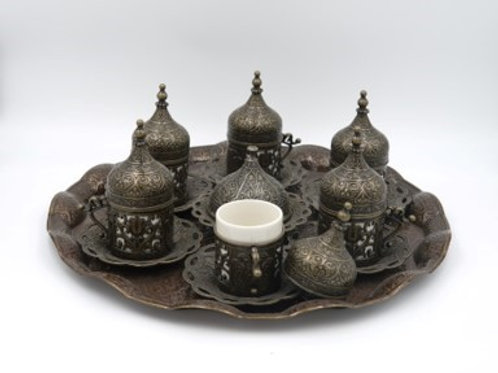 Coffee Set: 6 Cup Turkish Coffee Cup Set, Sweets Plate, Original Cast Copper