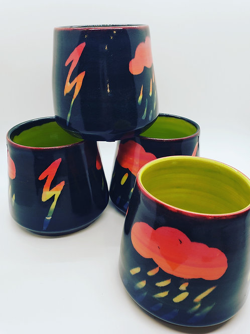 Clouds and Lightning Cocktail Mugs