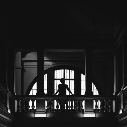 black and white architecture with lady silhouette