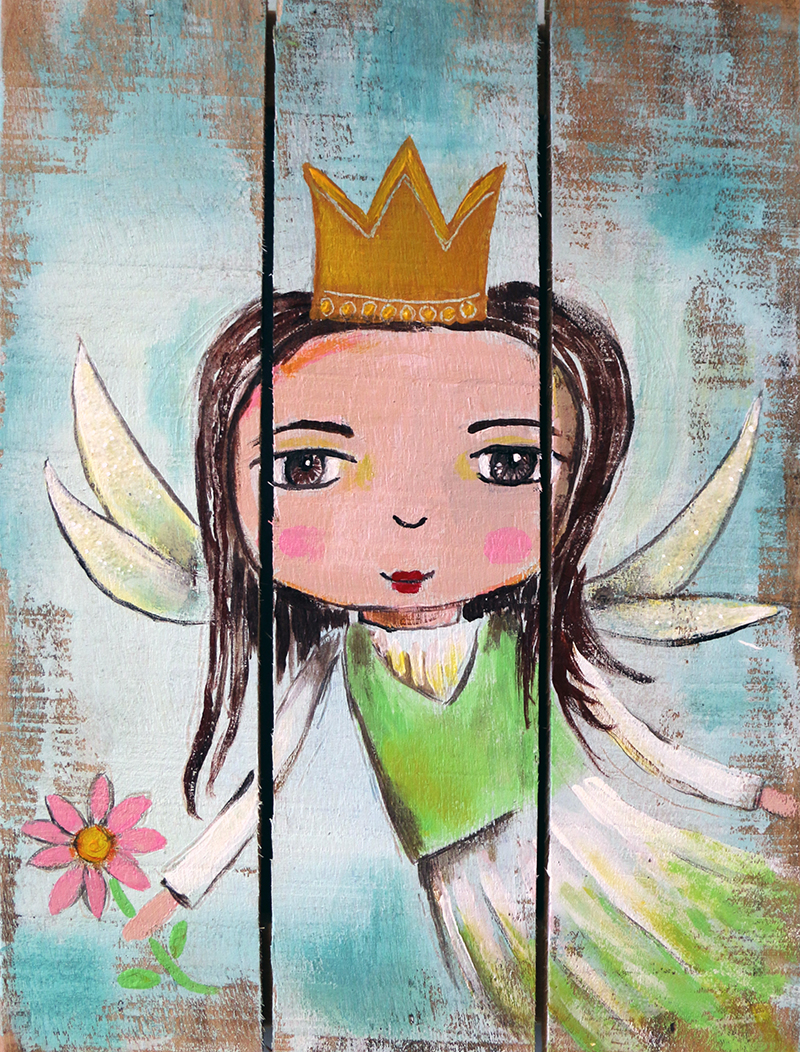 Fairy on wood panel