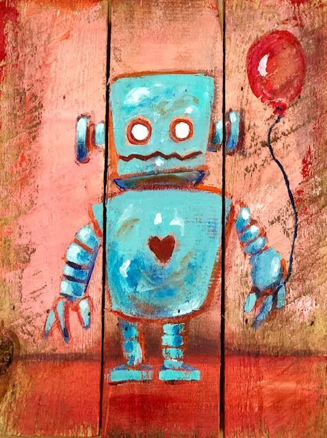 Robot on wood pallet