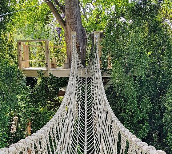 Bridge to zip-wire platform