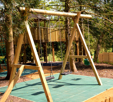 Swings and rubberised mat
