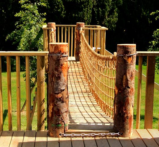 Rope and plank bridge