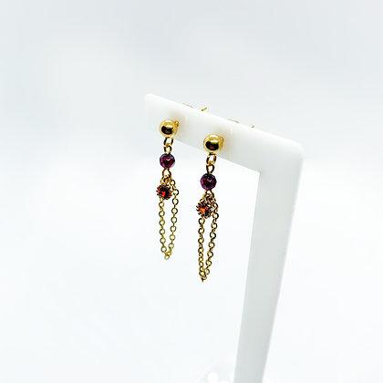 Odeta Earrings (Golden Strawberry Quartz)
