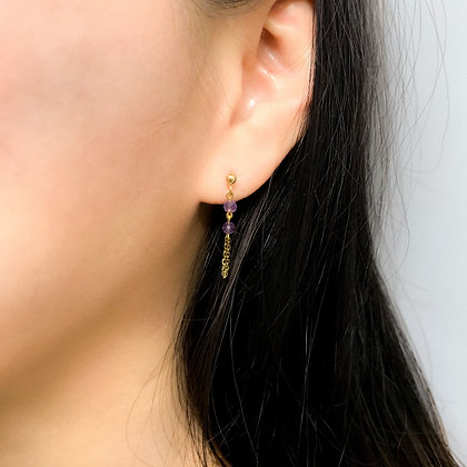 Faceted Amethyst Front-to-Back Chain Earrings
