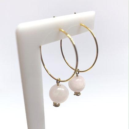 Rose Quartz Sphere Hoop Earrings
