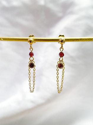Odeta Earrings (Garnet)