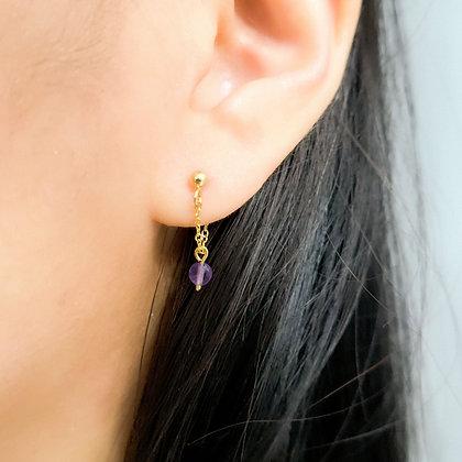 Checker Cut Amethyst Front-to-Back Earrings