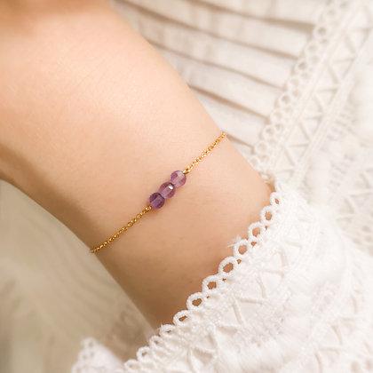 Double Checker Cut Amethyst Bracelet