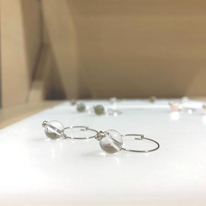 White Crystal Sphere Hoop Earrings