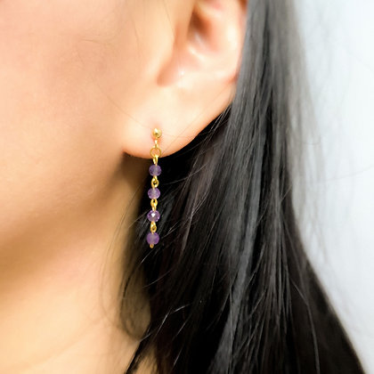 Faceted Amethyst Single Strand Earrings
