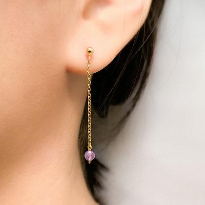 Checker Cut Amethyst Drop Earrings