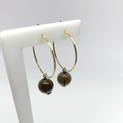 Smoky Quartz Sphere Hoop Earrings