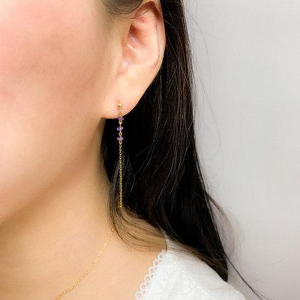 Amethyst Dangle Chain Earrings