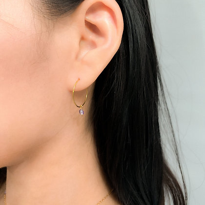 Classic Mini Amethyst Hoop Earrings