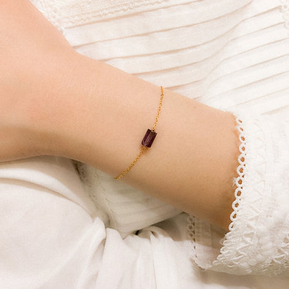 Mini Amethyst Cylinder Bracelet