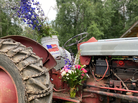 Trusty Tractor and Flowers