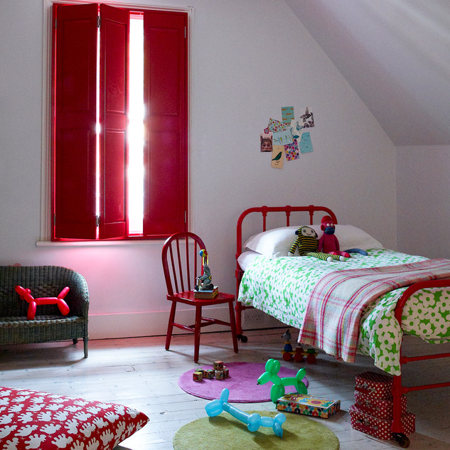 Red Raised Shutters in Childrens Bedroom