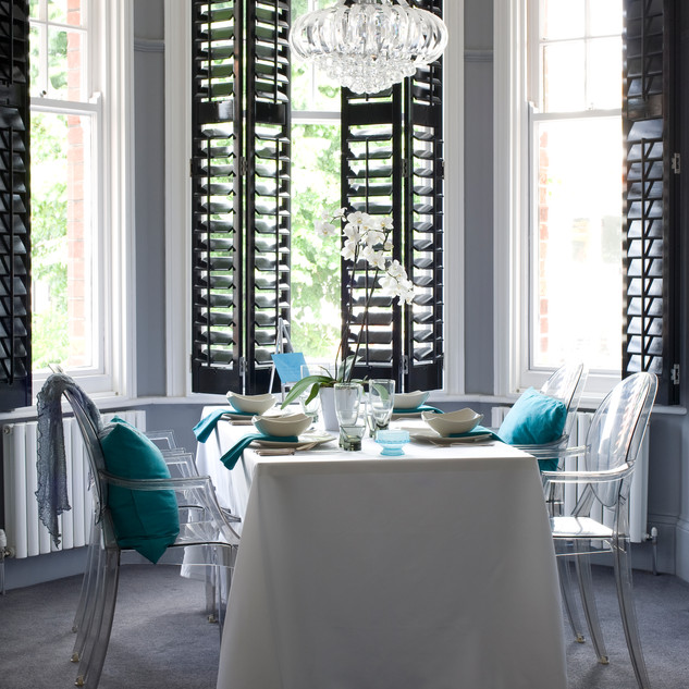 Black Shutters in Dining Room - Basswood