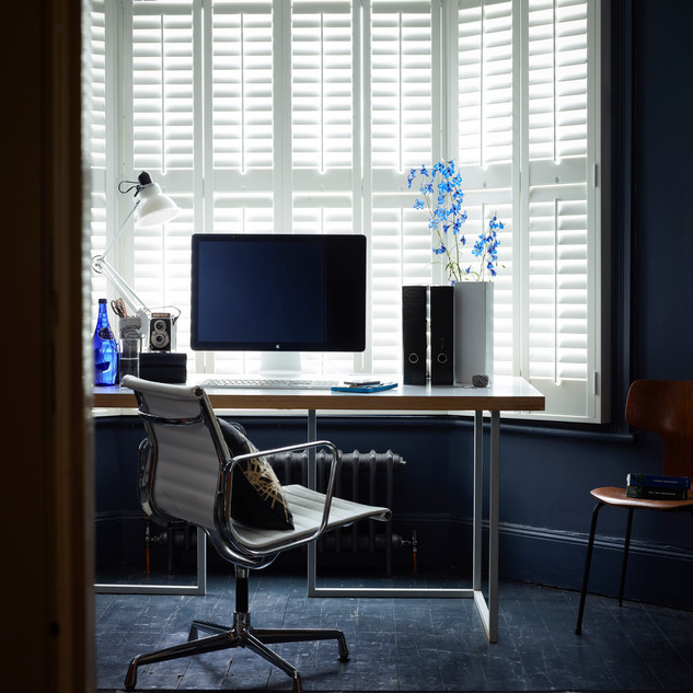 Home Office with White Full Height Shutt
