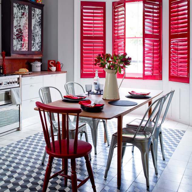 Red Full Height Shutters in Kitchen Open