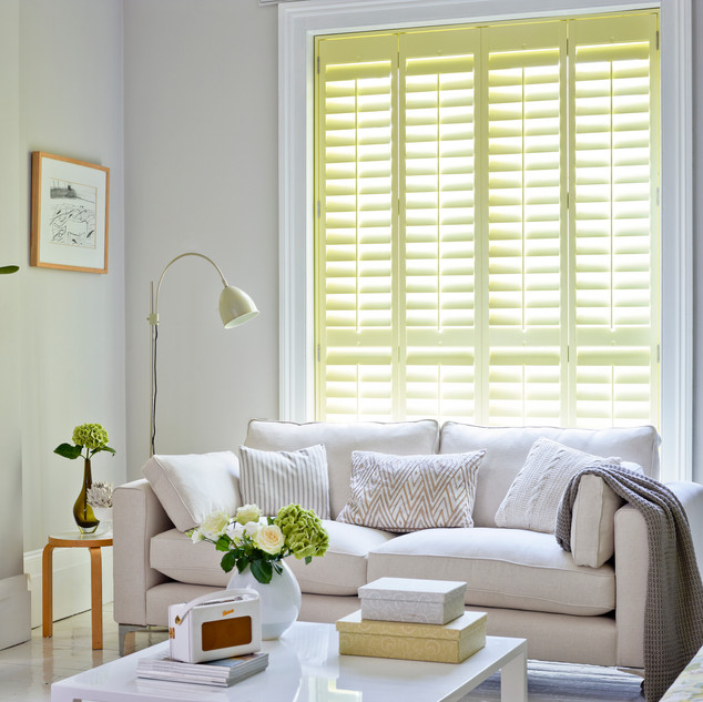 Living Room Tracked Shutters Yellow - Ba
