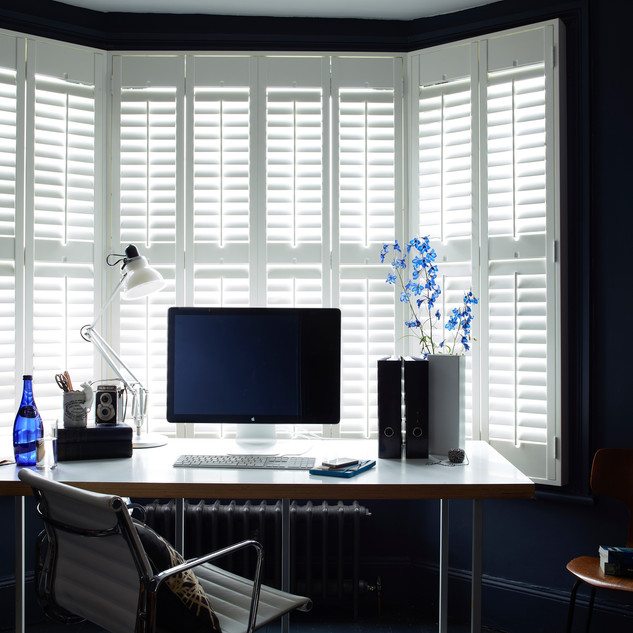 White Bay Shutters with Mac - Basswood .
