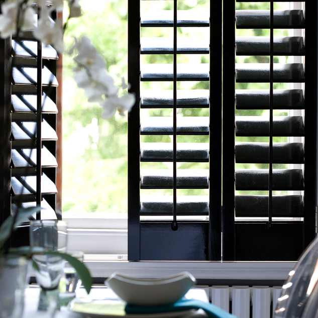 Black Plantation Shutters with Orchid -